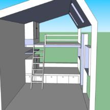 plan 3D, acheter une mini maison en bois sur roues